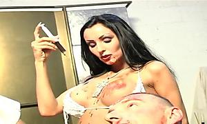 Busty babe likes to torture her guys