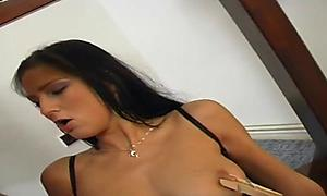 Brunette gets a serving of two cocks